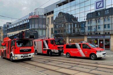 Feuerwehreinsatz am Einkaufszentrum Kolonnaden in Plauen.