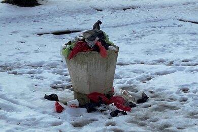 Ein mit Kotbeuteln überfüllter Mülleimer an der Arwed-Roßbach-Straße im Mammengebiet.
