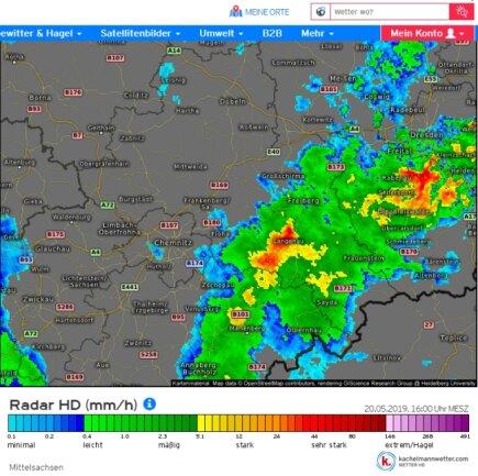 Kachelmannwetter hatte das Wetterphänomen in Langenau am Montagnachmittag auf dem Radar.