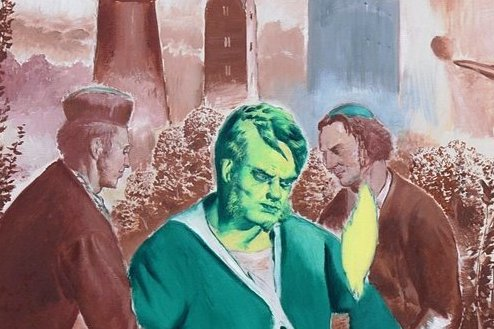 """Besucher der Galerie Eigen+Art in Leipzig bei einem früheren Rundgang vor dem Gemälde """"Der Landgang"""" von Neo Rauch. Der Maler gilt als Star, seine Werke verkaufen sich teuer."""