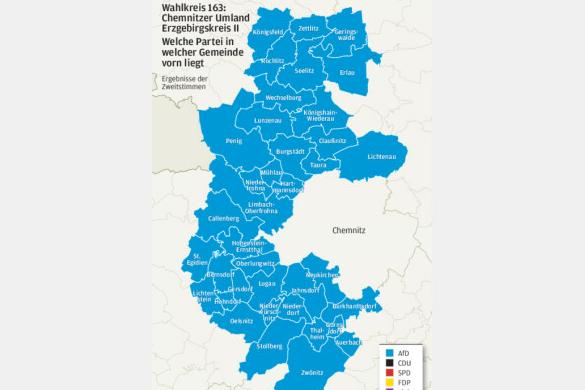 Der Wahlkreis ist komplett hellblau