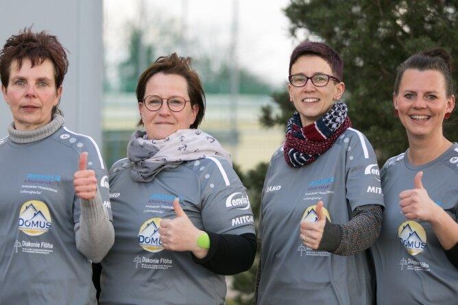 Für den gemeinsamen Spendenlauf sind Anett Mittelbach, Cornelia Löbel, Kati Richter und Daja Raudßuss derzeit auf Sponsorensuche.