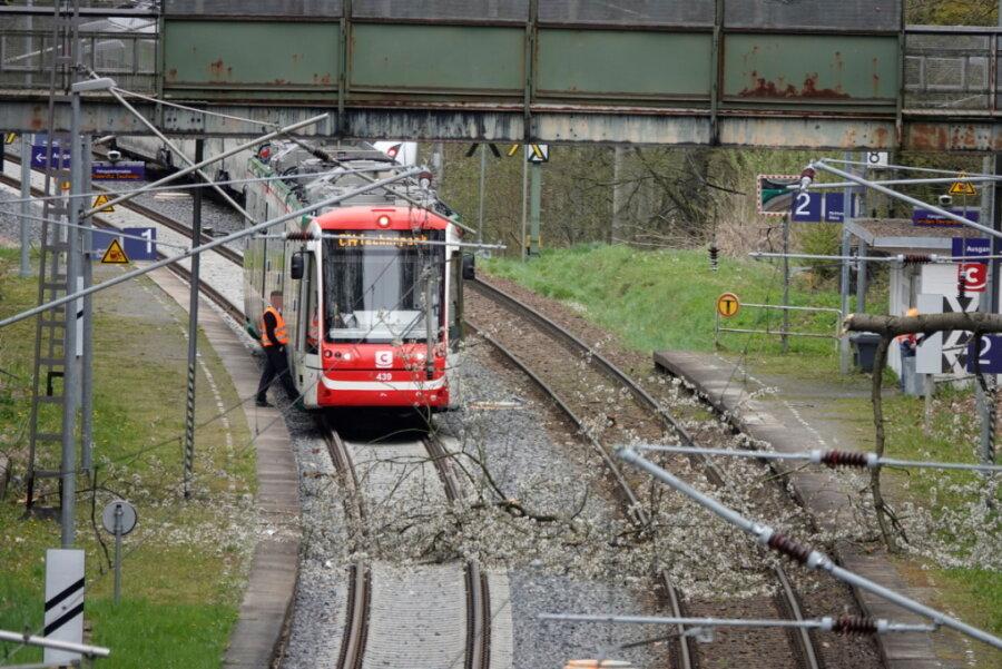 Am Chemnitzer Bahnhof Kinderwaltstätte war ein Baum auf die Gleise gestürzt.