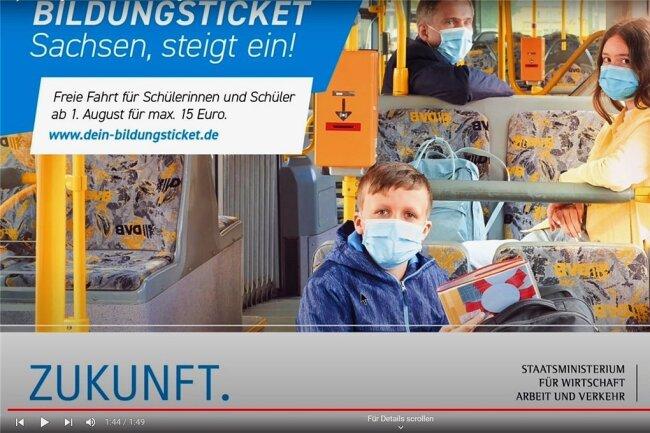 Das Motiv der Kampagne zum Bildungsticket, hier aus einem Youtube-Video zum Thema. Im Hintergrund Minister Martin Dulig.