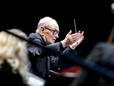 "Komponist Ennio Morricone bei seiner ""The Farewell Tour"" 2019 in Berlin."