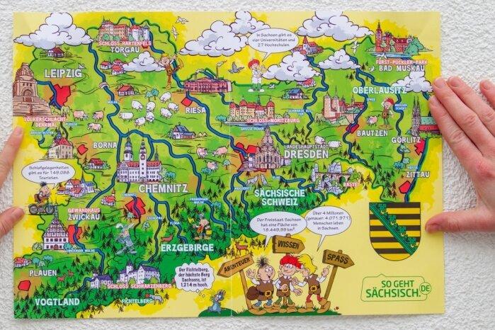 Geht so sächsisch? Die auch im Schulunterricht verwendete Mosaik-Sachsenkarte im Comic-Stil ist nicht vollständig. Teile des Vogtlandes fehlen. Nach deftiger Kritik soll es eine korrigierte Neuauflage geben.