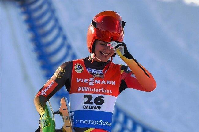 Jubeltag in Calgary: In Kanada fuhr Julia Taubitz im Dezember zu ihrem ersten Weltcupsieg.