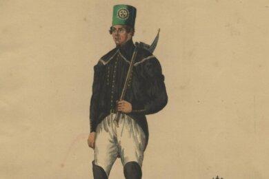 """Sächsischer Bergmann in Parade - eine Abbildung aus dem Buch """"Trachten der Berg- und Hüttenleute im Koenigreiche Sachsen"""" aus dem Jahr 1831."""
