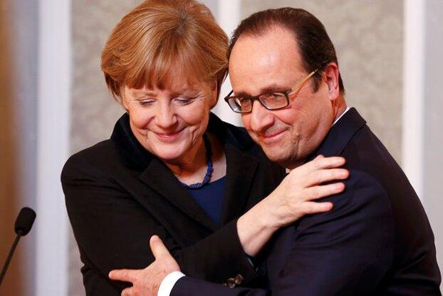 Angela Merkel und François Hollande nach den Gesprächen in Minsk. Gemeinsam rangen sie Moskau und Kiew eine Waffenruhe ab.