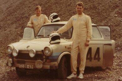 Heinz Galle (r.) und Wolfgang Kießling mit ihrem Rallye-Trabant.
