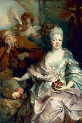 Nicolas de Largillièrre (1656 bis 1746): Doppelbildnis einer Dame und eines Herrn in den Rollen von Pomona und Vertumnus.
