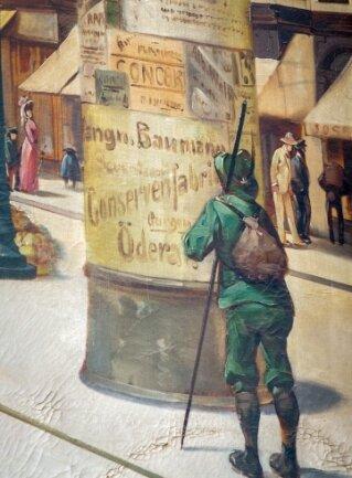 Detail des historischen Bildes: Auf einer Litfaßsäule ist Werbung für die Oederaner Firma zu sehen.