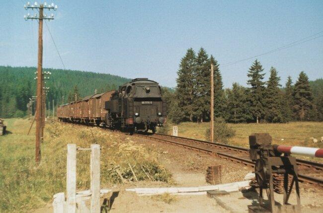 Der Vormittagsgüterzug nach Aue am 31. Juli 1975 vor der Einfahrt in Jägersgrün.