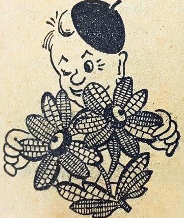 Der damalige Stadtreporter Fips mit dem 1. Festabzeichen von 1955 aus Plauener Spitze.