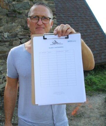 Uwe Maudrich von den Bergfreunden mit der Besucherliste.