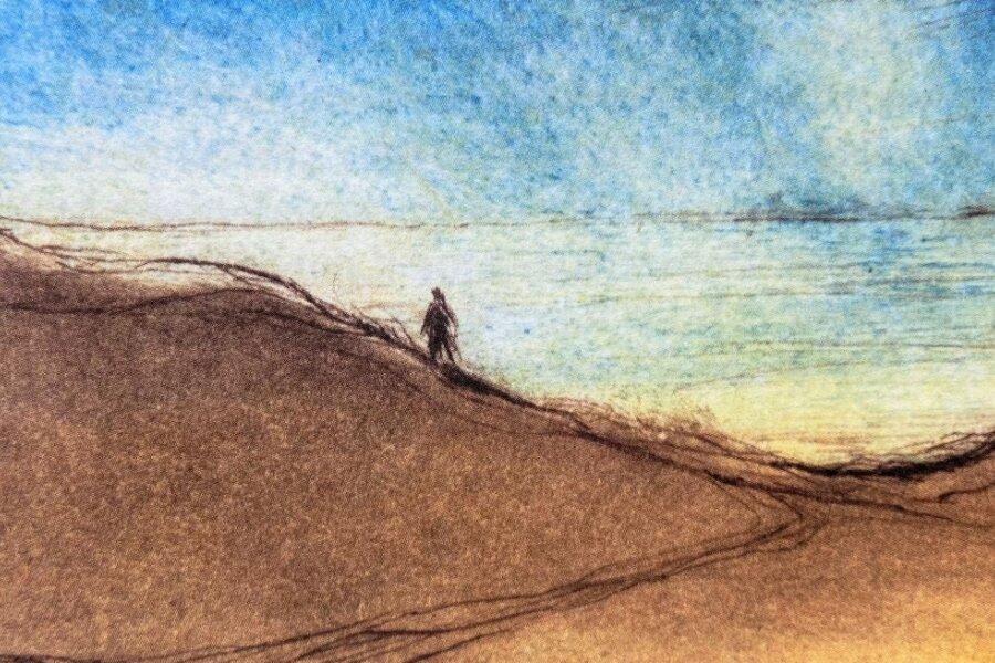 """Günter Weiß hat Hiddensee tausendfach gemalt. Sein """"Mensch am Ufer"""" ist eine Kaltnadelradierung von 2002."""