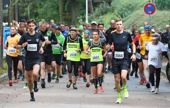 Beim 42. Werdauer Waldlauf waren mit Franz Sprung (Startnummer 2066) und Susan Weigert (2065) die beiden Gesamtsieger im Halbmarathon von Beginn an vorn dabei.