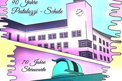 """Ausschnitt des Einbandes der Doppelchronik """"90 Jahre Pestalozzi-Schule / 70 Jahre Sternwarte"""", herausgegeben vom Schulförderverein."""