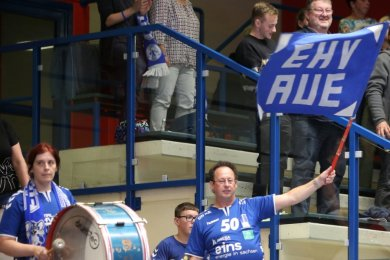 Auf die Unterstützung ihrer Fans, so wie hier im Heimspiel gegen die DJK Rimpar Wölfe, müssen die Auer Handballer an diesem Sonnabend verzichten. Dennoch soll in der Lößnitzer Erzgebirgshalle ein Sieg her.