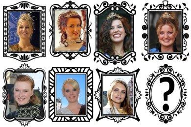 Spieglein, Spieglein an der Wand, wer wird die nächste Prinzessin in Plauen? Sieben hatten das Amt bislang inne, manche mit zwei Amtszeiten. Oben von links: Katja Balzer-Jähn (1996-1999), Nadien Riedel (1999-2004), Yamina Hadji (2004-2007), Sophie Gürtler (2007-2010); unten von links: Maria Nenner (2010-2013), Rika Maetzig (2013-2017), Barbara Riss (amtierend).