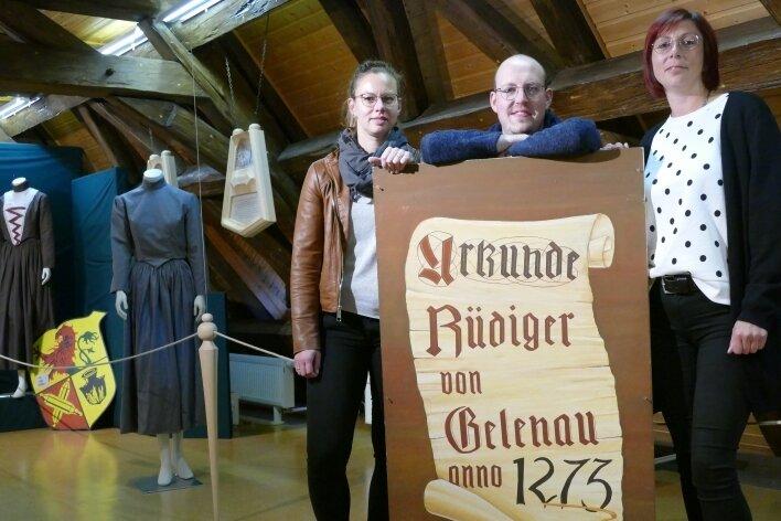Stephanie Wolf, Robby Schubert und Nancy Müller (von links) bilden den Vorstand des Festausschusses für das Gelenauer Jubiläum.