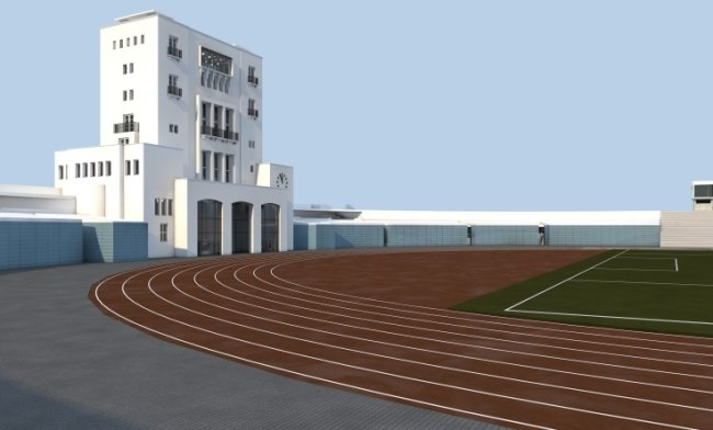 So sollen der Maratonturm und das neue Funktionsgebäude im Chemnitzer Sportforum einmal aussehen.