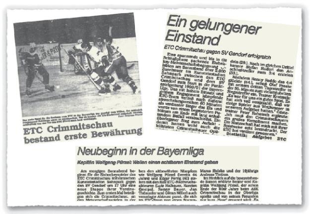 """Über das erste Punktspiel des ETC Crimmitschau in der Bayernliga berichtete vor 30 Jahren die """"Freie Presse"""" ausführlich. Die Beiträge erschienen damals wie heute nicht nur im Lokalteil, sondern auch auf den überregionalen Sportseiten."""