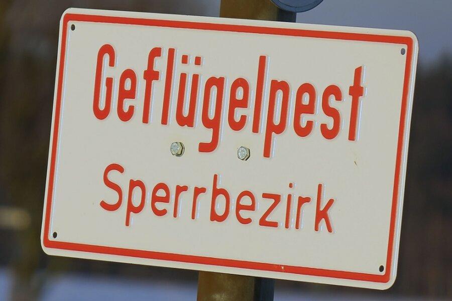Solche oder ähnliche Schilder werden jetzt auch im Vogtland auftauchen. Das Foto zeigt ein Geflügelpest-Warnschild im Chemnitzer Ortsteil Euba, wo es bereits Ende Januar zu Fällen gekommen war.