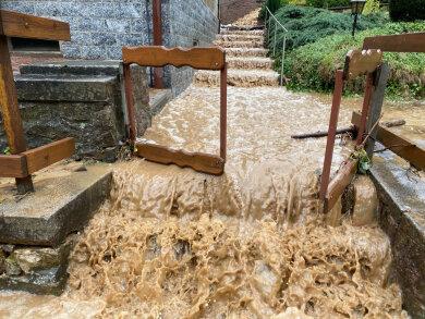 In Reinsberg lief das Wasser diese Treppe hinab.