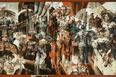 """Willi Sittes Werk """"Leuna"""" aus den 1960er-Jahren, Öl und Tempera auf Hartfaserplatte auf vier Tafeln."""