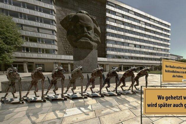 """Nach Dresden, Berlin, Potsdam und München nun auch in Chemnitz: """"Die Wölfe sind zurück?"""" heißt eine Figuren-Installation des in Brandenburg lebenden Künstlers Rainer Opolka, die am Donnerstag für einen Tag am Marx-Monument zu sehen sein soll."""