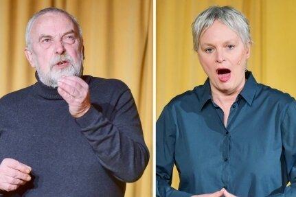 """Andreas Zweiger, Ellen Schaller und Gerd Ulbricht (von links) im Programm """"Sglatschtglei!"""" im Chemnitzer Kabarett."""