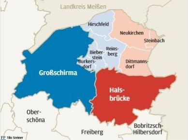 So sieht die Arbeitsgrundlage für die Gespräche aus: Neukirchen, Dittmannsdorf und Steinbach könnten zur Gemeinde Halsbrücke kommen; Reinsberg, Burkersdorf und Bieberstein nebst Gotthelffriedrichsgrund und Drehfeld würden der Stadt Großschirma angegliedert.