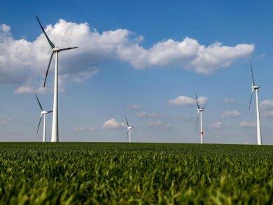 Windräder stehen auf einer Anhöhe.