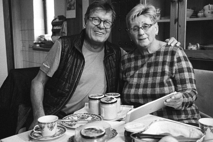 Karin Schütze mit Wolfgang Ettlich, Zschopau 2019.