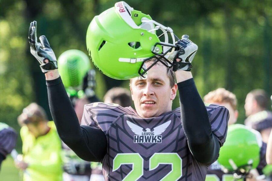 Tom Weinert, hier noch im Trikot der Leipzig Hawks, will American Football im Erzgebirge etablieren. Er glaubt, dass die Region ein großes Einzugsgebiet bietet und hat schon 30 Begeisterte um sich geschart.