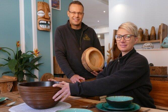 Ihr neues Geschäft haben Alexandra und Robert Hähnel in verschiedene Bereiche aufgeteilt. Dazu gehört auch ein Esszimmer.