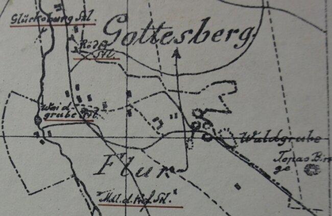 Die Topas-Binge bei Gottesberg (rechts) auf einer Karte von 1790.