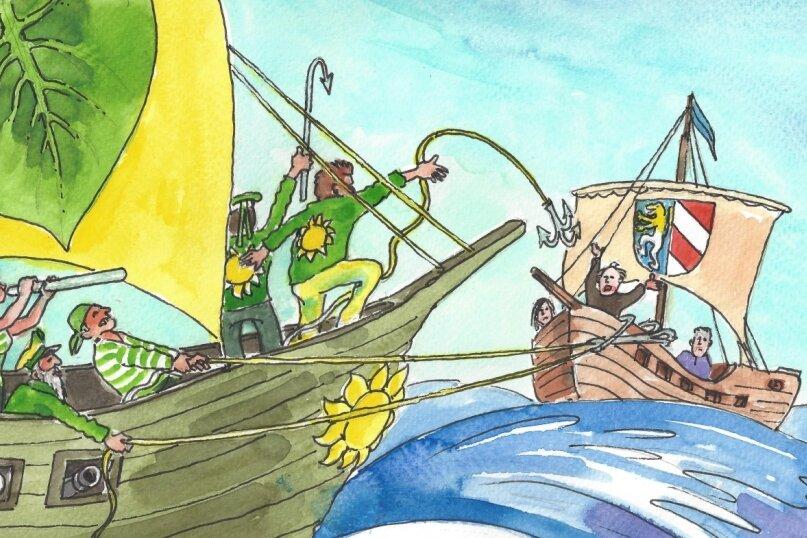 """Nur eine Fiktion: Die """"grünen Piraten"""" werfen den Enterhaken Richtung Landkreis aus."""