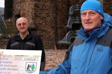 Für den Parkplatz gab es eine Spende der Stadt an die Kirchgemeinde - im Bild der Bauüberwacher der Kirche, Horst Escher, und Pfarrer Christian Kaufmann (r.).
