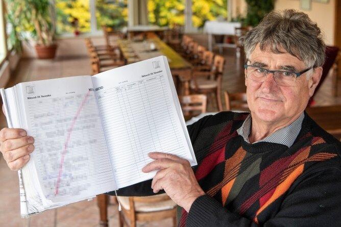 Die Coronakrise macht den Hotels zu schaffen. Andreas Lorenz, Inhaber des Waldhotels am Reiterhof in Seelitz, zeigt eine Seite im Kalender mit Buchungen, die wieder abgesagt wurden.