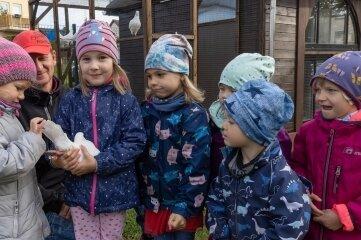 Nico Hübner (hinten) wird sich gemeinsam mit den Kitakindern um die Tauben kümmern. Zu Einweihung wurden Lieder gesungen und es gab Tauben-Plätzchen.