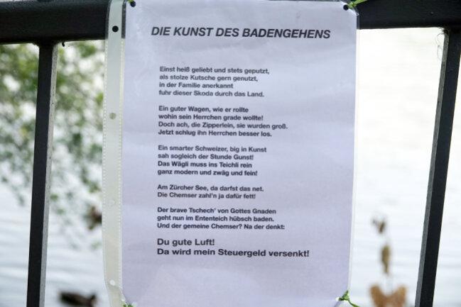 Ablehnung in Gedichtform: Nicht jeder Chemnitzer findet die Aktion gut.