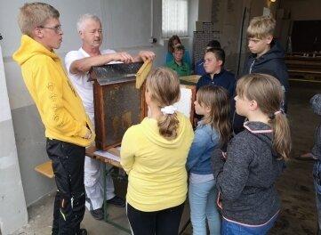 Imker Jürgen Richter zeigte den Jugendlichen seine Bienen.