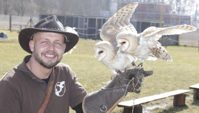 Falkner Hans-Peter Herrmann mit seinen Schleiereulen Willy und Wally, die in Flugshows zu erleben sind.