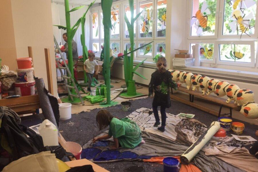 Michelner Kinder bauen Riesenwiese