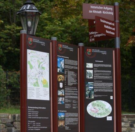 Neue Info-Schilder und -Tafeln am Hammerparkplatz.
