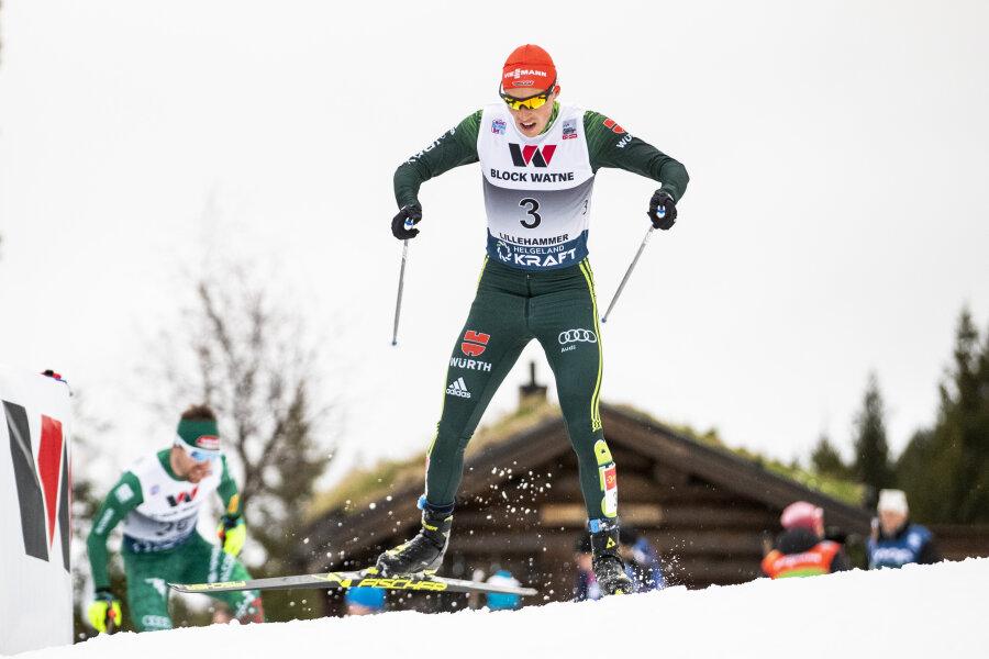 Eric Frenzel vom SSV Geyer sprang auf Platz 3.