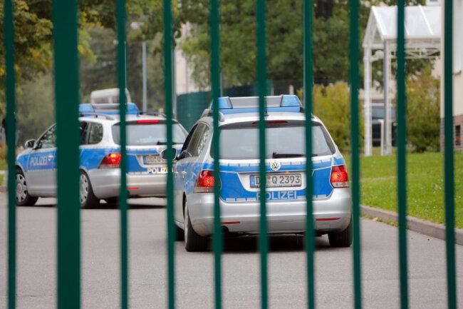 Polizeieinsatz am Mittwoch in der Erstaufnahmeeinrichtung für Asylbewerber in Chemnitz.