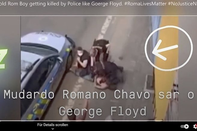 Screenshot aus dem Video der Festnahme von Stanislav Tomas in Teplice.